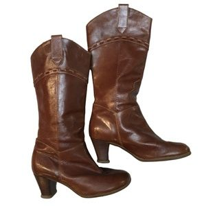 John Fluevog Brown Leather Knee High Boots Shoes